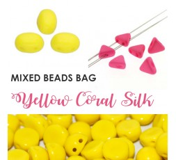Mixed Beads Yellow Coral Silk BAG
