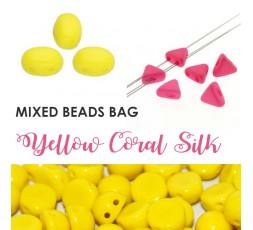 Mixed Beads Yellow Coral Silk BAG