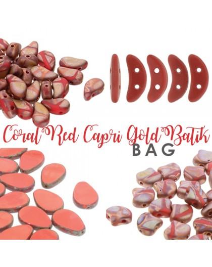 Coral Red Capri Gold Batik BAG