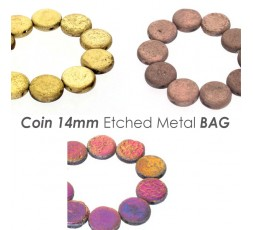 Coin 14mm Etched Metal BAG