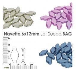 Navette 6x12mm Jet Suede BAG