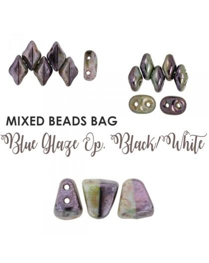 Mixed Beads Blue Glaze Op. Black/White