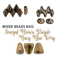 Mixed Beads Senegal Brown Purple Navy Blue Ivory