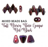 Mixed Beads Full Brown Flare Opaque Red/Black