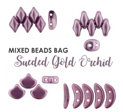Mixed Beads Sueded Gold Orchid BAG