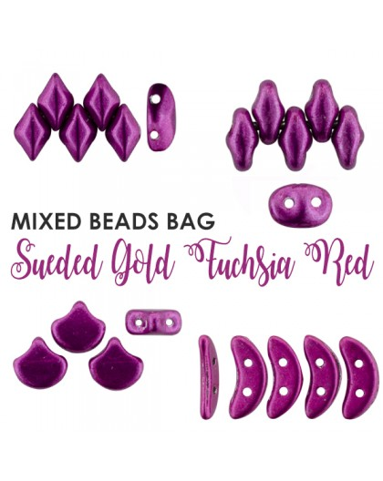 Mixed Beads Sueded Gold Fuchsia Red BAG