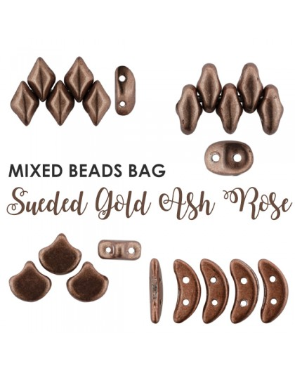 Mixed Beads Sueded Gold Ash Rose BAG