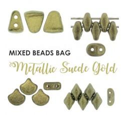 Mixed Beads Metallic Suede Gold BAG