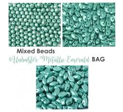 Mixed Beads Alabaster Metallic Emerald BAG
