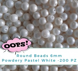 OOPS!BAG - Round Beads 6mm Powdery Pastel White - 200 PZ