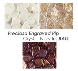 Preciosa Engraved Crystal Ivory Iris BAG