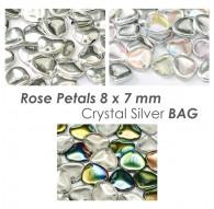 Rose Petals 8 x 7 mm Crystal Silver BAG