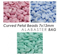 Curved Petal Beads 7x13mm Alabaster BAG
