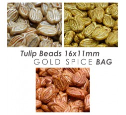 Tulip Beads 16x11mm Gold Spice BAG