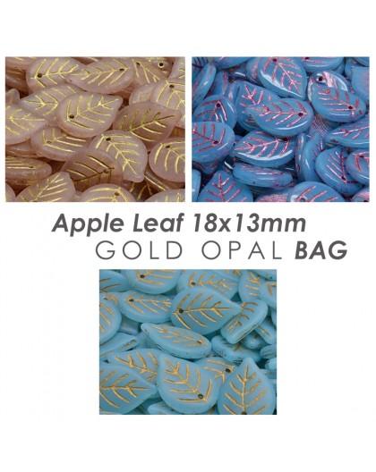 Apple Leaf 18x13mm Opal Gold BAG
