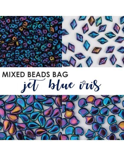 Mixed Beads Jet Blue Iris BAG