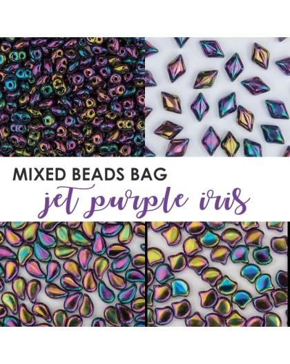 Mixed Beads Jet Green Iris BAG