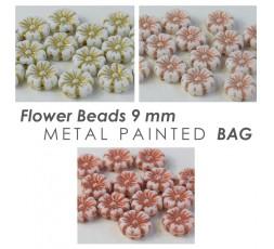 Flower Beads 9 mm Metal Painted BAG