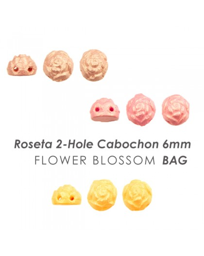 Rosetta 2-Hole Cabochon 6mm Flower Blossom BAG