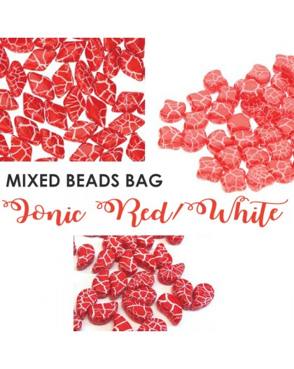 Mixed Beads Ionic Red/White BAG