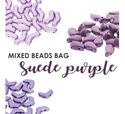 Mixed Beads Suede Purple Bag