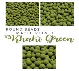 Round Beads Matte Velvet Khaki Green BAG