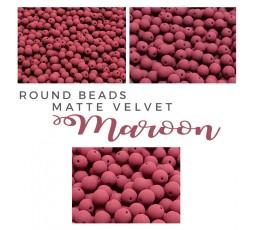 Round Beads Matte Velvet Purple Wine BAG